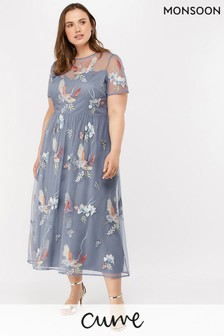 Monsoon Ladies Grey Callie Crane Embroidered Midi Dress