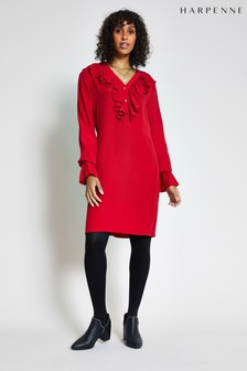 Harpenne Red Ruffle Front Shift Dress