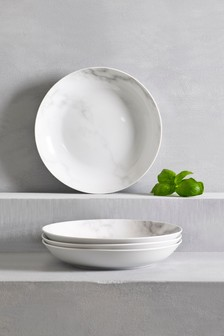 Marble Effect Set of 4 Pasta Bowls