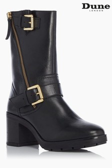 Dune London Race Black Buckled Calf Boots