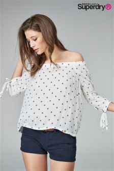 Superdry Cream Geo Spot Off Shoulder Top