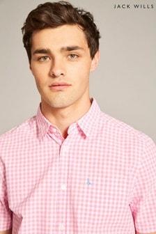 Jack Wills Pink Ampthil Short Sleeve Poplin Shirt