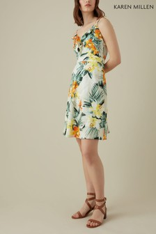 Karen Millen Cream Tropical Palm Print Collection Dress