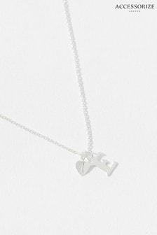 Accessorize Sterling Silver Heart Initial Necklace - E