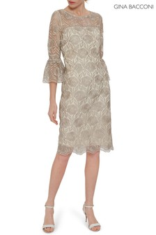 Gina Bacconi Cream Theora Embroidery Dress