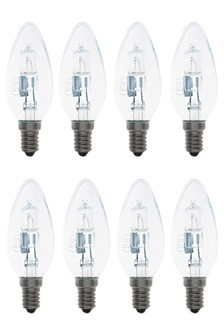 8 Pack 28W SES Halogen Candle Bulb