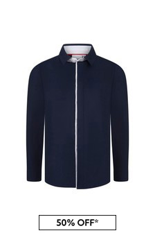 BOSS Boys Navy Cotton Shirt