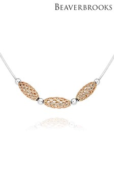 Beaverbrooks Silver And Rose Gold Plated Basket Necklace