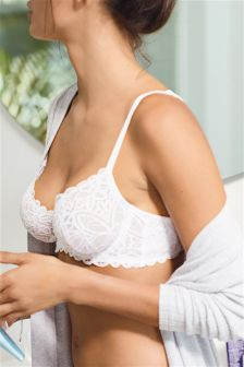Lizzie Cotton Look Lace Non Padded Wired Balcony Bra