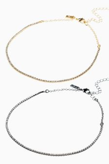 Jewelled Choker Two Pack
