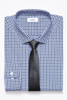 Gingham Slim Fit Shirt With Tie Set