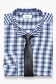 Komplet: dopasowana koszula w kratkę gingham i krawat