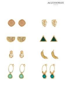 Accessorize Gold Tone Tutti Fruiti Stud Earrings Sixteen Pack