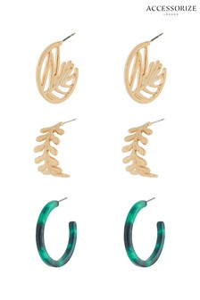 Accessorize Gold Tone Palm Hoop Earrings Three Pack
