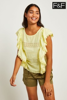 F&F Yellow Ruffle Lemon Blouse