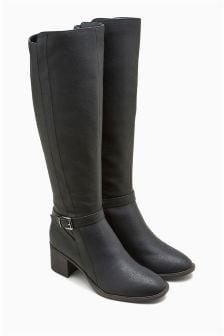 Zip Block Heel Long Boots