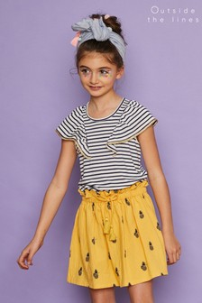 Outside The Lines Blue Striped Ruffle Tee