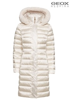 Geox Women's Bettanie Cream Long Jacket