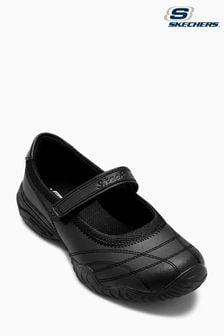 حذاء رياضي أسود للأطفال بحزام علوي من Skechers