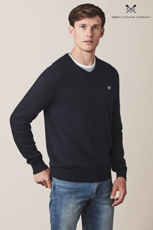 Crew Clothing Blue Foxley V-Neck Jumper