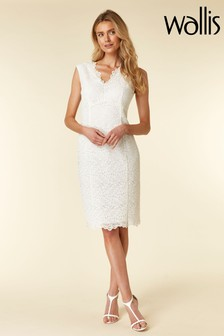 Wallis White Ivory Lace Scallop V-Neck Shift Dress