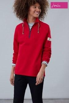 Joules Red Bewley Casual Half Zip Sweatshirt