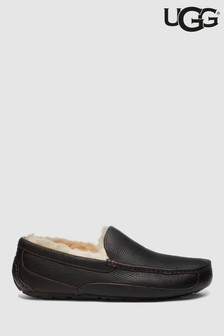 UGG® Brown Leather Ascot Moccasin Slipper