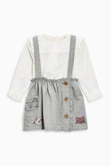 Cat Braces, Skirt And Blouse Set (3mths-6yrs)