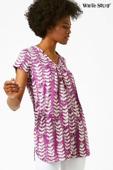 White Stuff Purple Rice Flower Print Jersey Tunic
