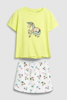 Short Sleeve T-Shirt And Skirt Set (3-16yrs)