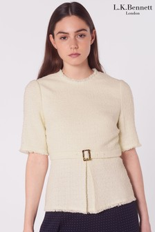 L.K.Bennett Cream Bernice Belted Tweed Top