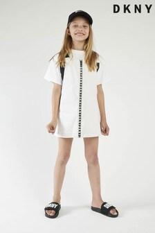 DKNY White/Black Logo Dungaree Dress