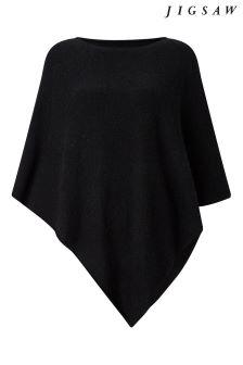 Jigsaw Black Wool Cashmere Blend Rolled Poncho