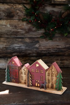 Wooden House Lit Scene