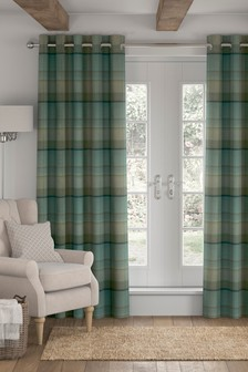 Marlow Woven Check Studio* Eyelet Lined Curtains