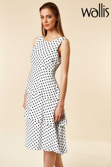 Wallis White Ivory Spot Tiered Dress