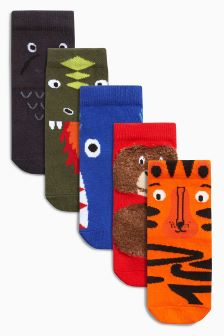 Animal Five Pack Socks (Younger)