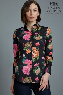 46419d2d9a41 Hawes   Curtis Black Shadow Rose Print Fitted Shirt