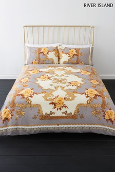 River Island Floral Baroque Print Cotton Duvet Cover and Pillowcase Set