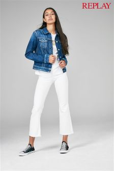 Replay® Cropped Flare White Jean