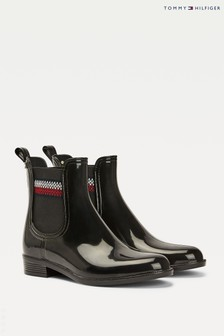 Tommy Hilfiger Black Corporate Ankle Rain Boots