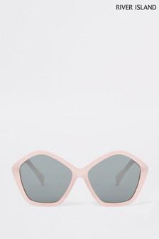 River Island Pink Glitter Hexagon Sunglasses