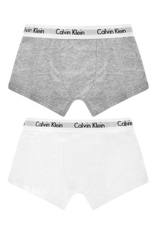 Boys White/Grey Boxer Shorts Two Pack