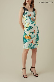 Karen Millen Cream Tropical Print On Signature Stretch Dress
