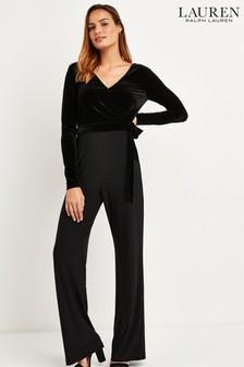 Lauren Ralph Lauren Black Velvet Body Jumpsuit