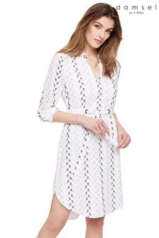 Damsel In A Dress White Hannah Embroidered Dress