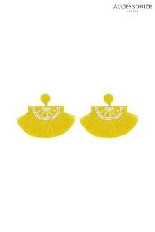 Accessorize Yellow Lemon Fringe Statement Earrings