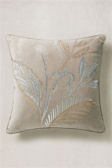 Embellished Floral Cushion