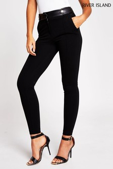 River Island Black Button Tab Skinny Ponti Trousers