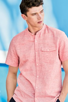Short Sleeve Linen Blend Grandad Shirt